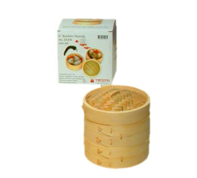 Town Foodservice Equipment 34206 Bamboo Steamer Set Includes 2 Steamers 1 Cover 6 in Restaurant Supply