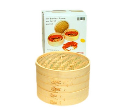 Town Food Service 34210 Bamboo Steamer Set, Includes 2 Steamers, 1 Cover, 10 in