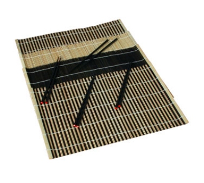 Town Food Service 34252 (4) Placemat & Chopstick - 12x18, Black Bamboo