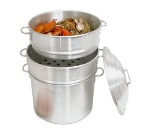 Town Food Service 34416-SDP 16 in Clam Steamer Set, 2 Steamers, 1 Water Pan, 1 Cover, Aluminum