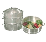 Town 34422-S 22 in Chinese Steamer Set, 2 Steamers, 1 Water Pan, 1 Cover, Aluminum