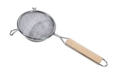 Town Food Service 42404-S 4 in Diameter Double Mesh Strainer, Wood Handle, Stainless