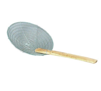 Town Food Service 42624-SS 14 in Diameter Coarse Mesh Skimmer, Bamboo Handle, Round, Stainless