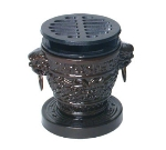 Town 51336 3-3/4 x 4-3/4 in Hibachi Stove Set, Dragon-Style, Cast Iron Removable Grill