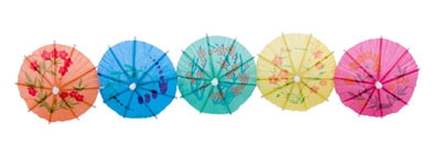 Town 51801 4 in Paper Cocktail Parasol, Wooden Stem, Assorted Colors