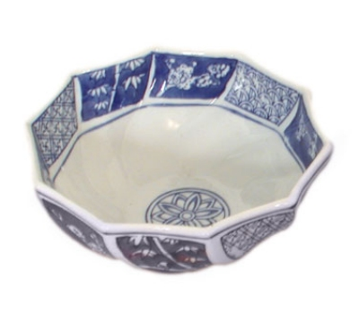 Town Food Service 727 24 oz Facetted Bowl, Blue And White China, 7 in