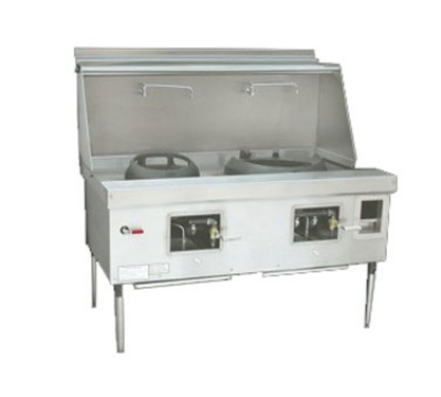 Town Food Service E-2-SS NG Express Wok Range, 2 Chamber, Lower Right Sink, Stainless Sides, NG