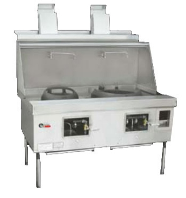 Town Food Service EF-2-SS NG Express Wok Range, 2 Chambers w/ Flue, Lower Right Sink, Stainless Sides, NG