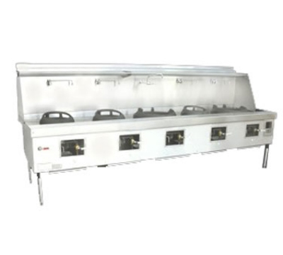 Town Food Service Y-5-SS NG York Wok Range, 5 Chamber, Fiber Ceramic Insulation, Stainless Sides, NG