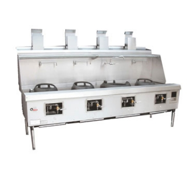 Town Food Service YF-4-STD NG York Wok Range, 4 Chamber w/ Flue, Fiber Ceramic Insulation, Painted Sides, NG