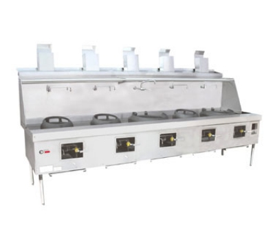 Town Food Service YF-5-SS LP York Wok Range, 5 Chamber w/ Flue, Fiber Ceramic Insulation, Stainless Sides, LP