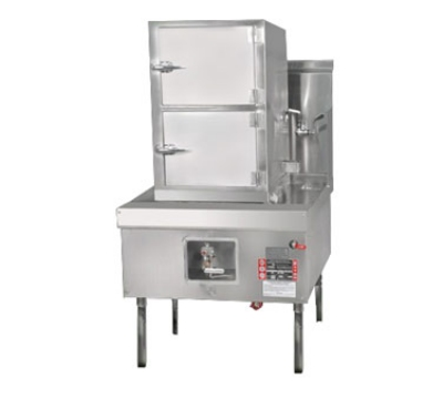 Town Food Service YF-STMR-SS LP Steamer Range And Cabinet, 2 Compartments, 41 in Cabinet, 32 Tip Jet Burner LP