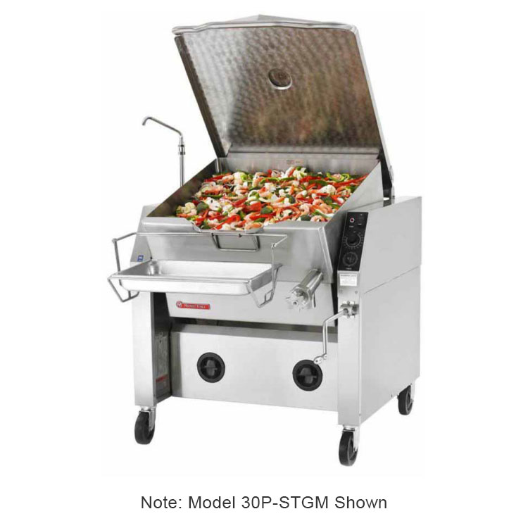 Market Forge 30PSTGMNG Tilting Skillet, 30-Gallon Capacity, Manual Tilt Mechanism, NG