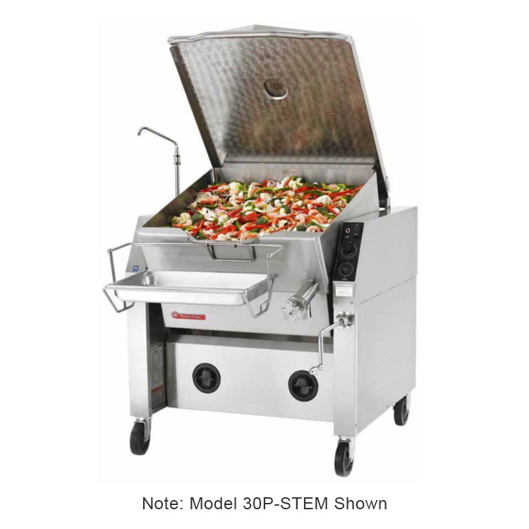 Market Forge 40P-STEM 2401 40-Gal Tilting Skillet w/ Modular Enclosed Cabinet Base, Pan & Frame, 240/1 V