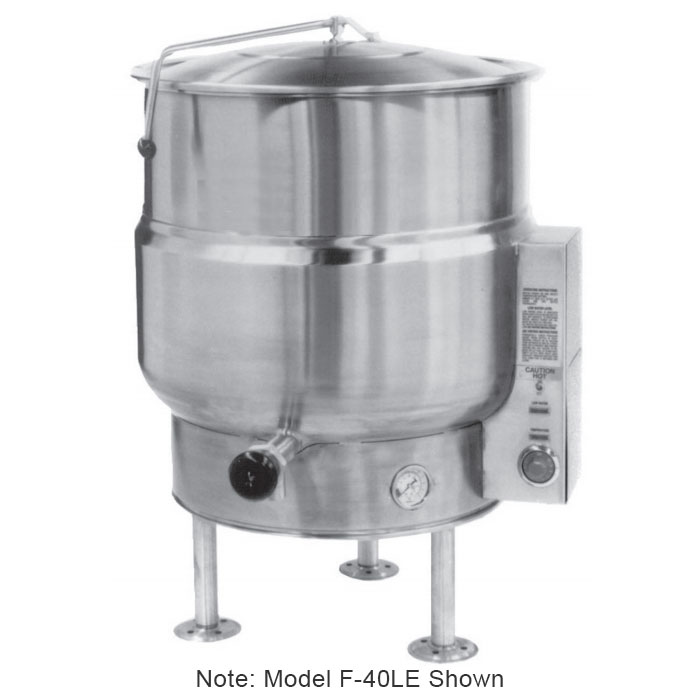 Market Forge F-100LE Kettle, 100 Gallon Capacity, Tri-Leg, All SS Exterior, 240/3 V