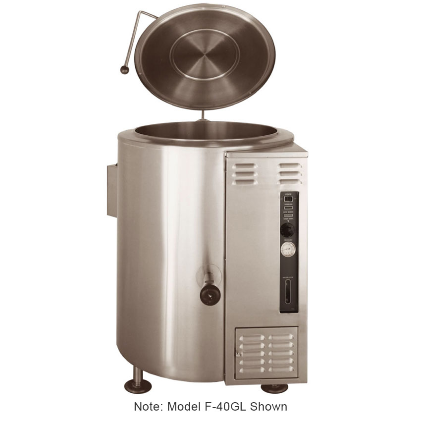 Market Forge F20GLLP Kettle, 20-Gallon Capacity, w/ Floor Mounted Control Console Supports, LP