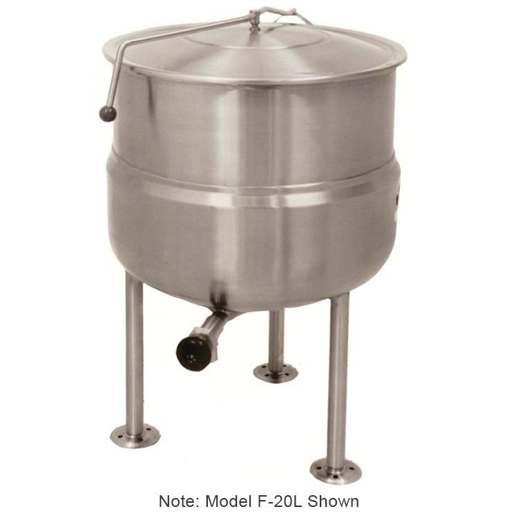 Market Forge F30L Kettle, Direct Steam, 30 gal Capacity, Tri-Leg, All SS Exterior Finish