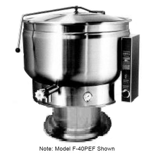 Market Forge F-30PEF 2083 30-gal Kettle, w/ Pedestal Base & Full Steam Jacket Design, Stainless, 208/3 V