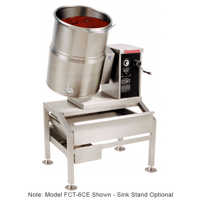 Market Forge FCT-12CE 2403 12-gal Tabletop Kettle, Tilt-Type w/ Hand Crank, Full Steam Jacket, 240/3 V