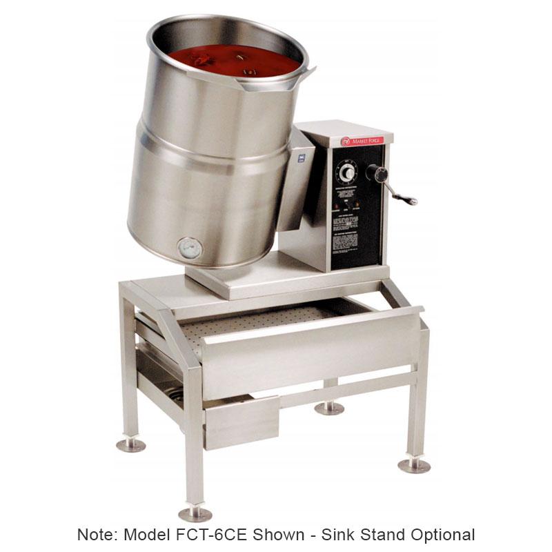 Market Forge FCT-6CE 2301 6-gal Tabletop Kettle, Tilt-Type w/ Hand Crank, Full Steam Jacket, 230/1 V