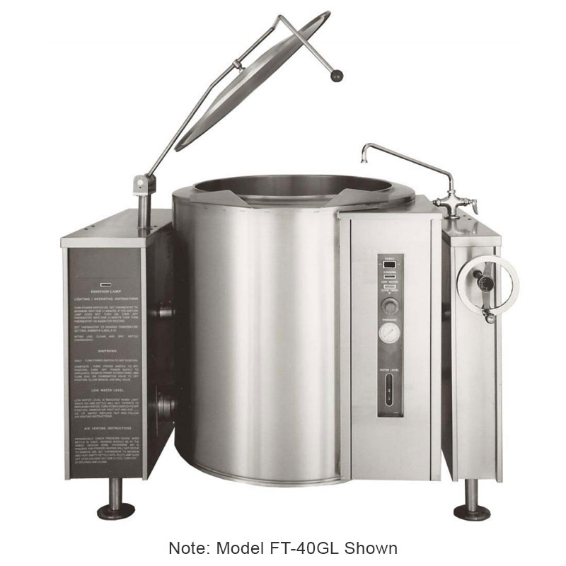 Market Forge FT-20GL LP 20-gal Tilting Kettle, 2/3- Steam Jacket Design & Open Leg Base, Stainless, LP