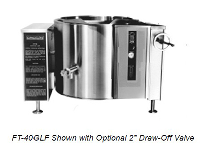 Market Forge FT-40GLF 40-gal Tilting Kettle, Full Steam Jacket Design & Open Leg Base, Stainless