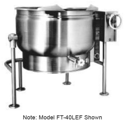Market Forge FT-40LEF 3803 40-gal Tilting Kettle, 2/3-Steam Jacket Design & Open Tri-Leg Base, 380/3 V
