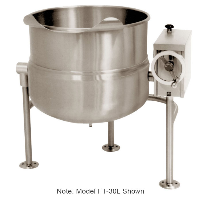 Market Forge FT-80L 80-gal Tilting Kettle, Direct Steam, 2/3-Steam Jacket Design & Tri-Leg Base