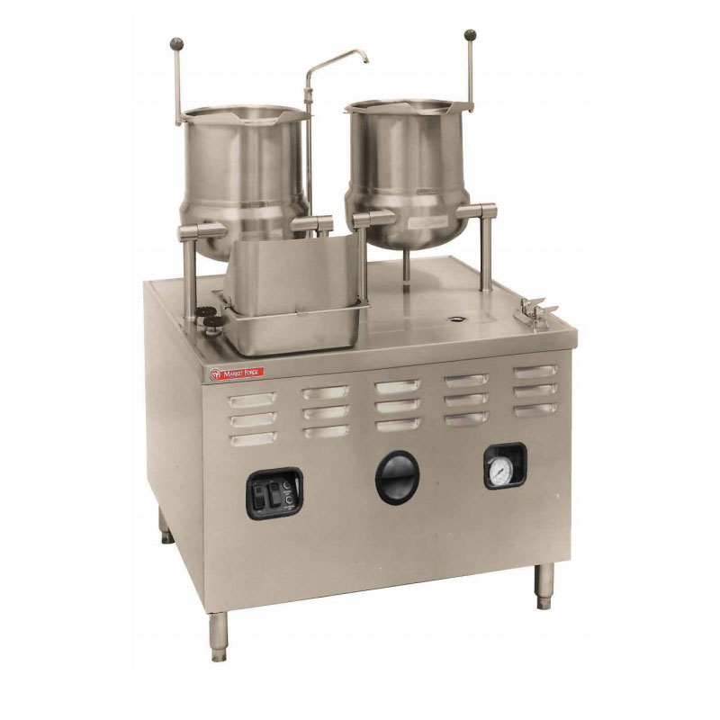 Market Forge MT10T6E42/48A 2083 2-Tilting Kettles w/ 36-in Base & 48-kw Steam Generator, Stainless, 208/3 V