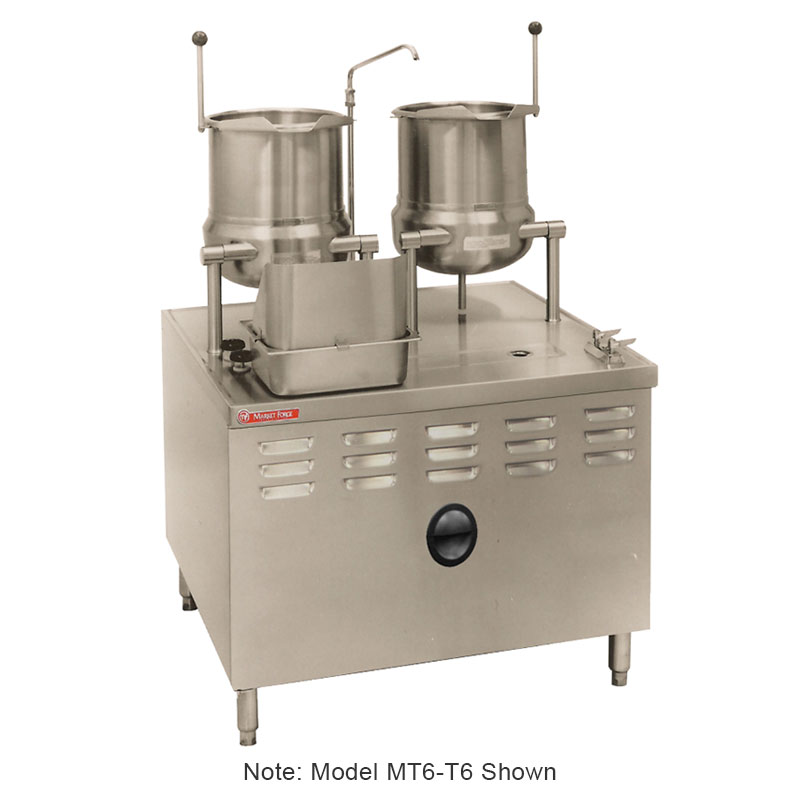 Market Forge MT6T6 Tilting Kettle, Direct Steam, 6-gal Kettles, 2/3-Steam Jacket Design