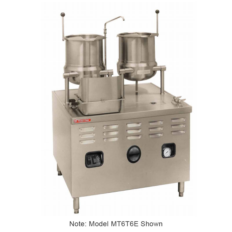 "Market Forge MT6T6E24A 2403 Tilting Kettle w/ 36"" Base & 24-kw Steam Generator, Stainless, 240/3 V"