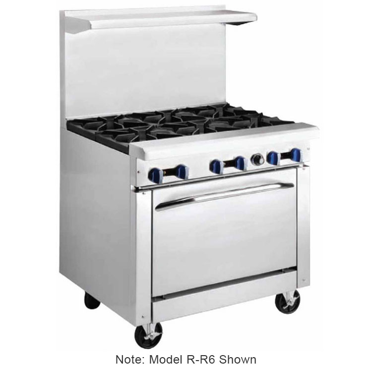 "Market Forge R-R6 36"" 6-Burner Gas Range, LP"