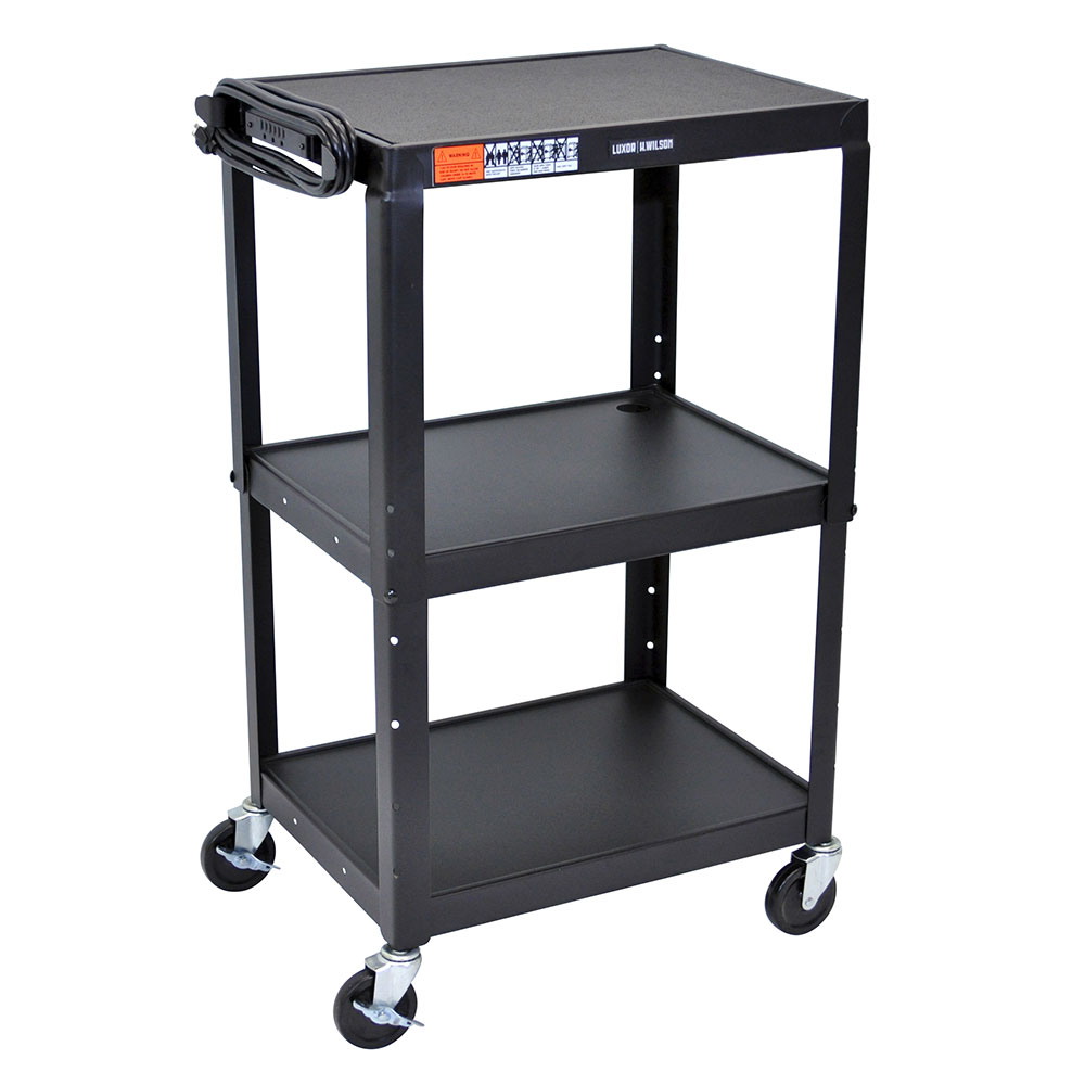 Luxor Furniture AVJ42 3-Level Media Cart w/ 15-ft Cord