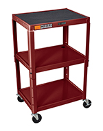 Luxor Furniture AVJ42-BY Utility Cart w/ Locking Brakes, Adjusts to 42-in, 24 x 18-in, Burgundy