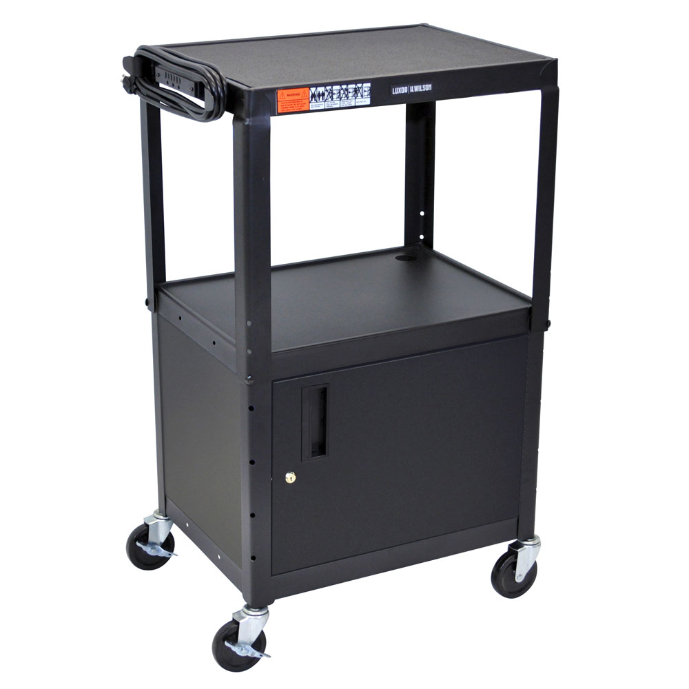 Luxor Furniture AVJ42C Utility Cart w/ Locking Cabinet, Adjusts to 42-in, 24 x 18-in, Black