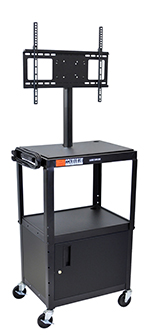 "Luxor Furniture AVJ42C-LCD Metal Cart w/ 46"" Flat Panel Display Mount & Locking Cabinet, Black"