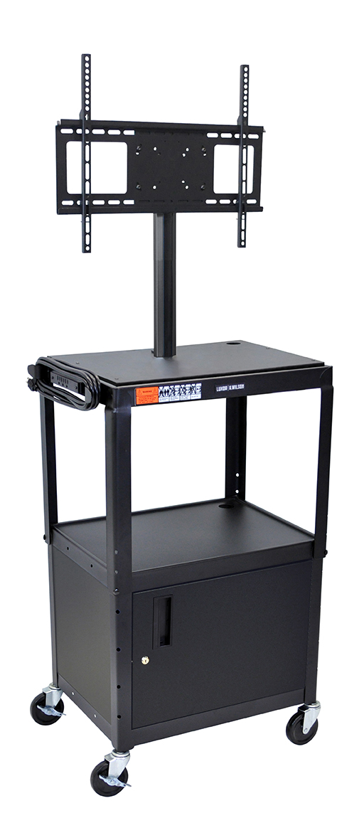 Luxor Furniture AVJ42C-LCD Metal Cart w/ 46-in Flat Panel Display Mount & Locking Cabinet, Black