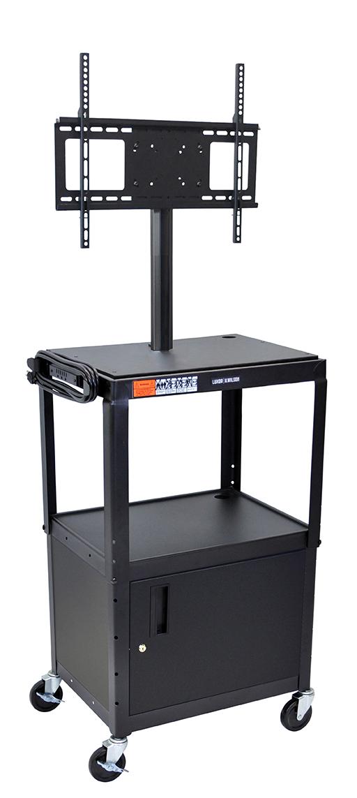 Luxor Furniture AVJ42C-LCD-BY Metal Cart w/ 46-in Flat Panel Display Mount & Locking Cabinet, Burgundy