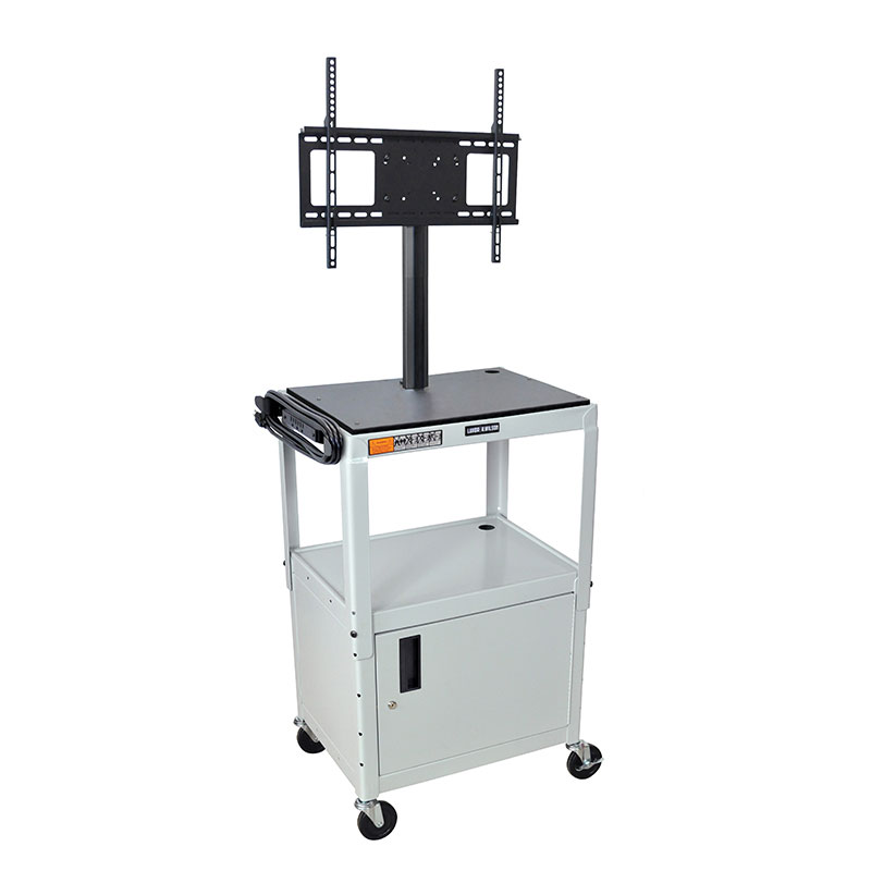 "Luxor Furniture AVJ42C-LCD-LG Metal Cart w/ 46"" Flat Panel Display Mount & Locking Cabinet, Light Gray"