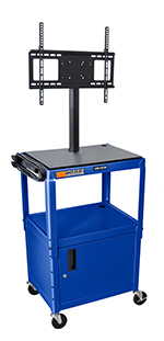 "Luxor Furniture AVJ42C-LCD-RB Metal Cart w/ 46"" Flat Panel Display Mount & Locking Cabinet, Royal Blue"