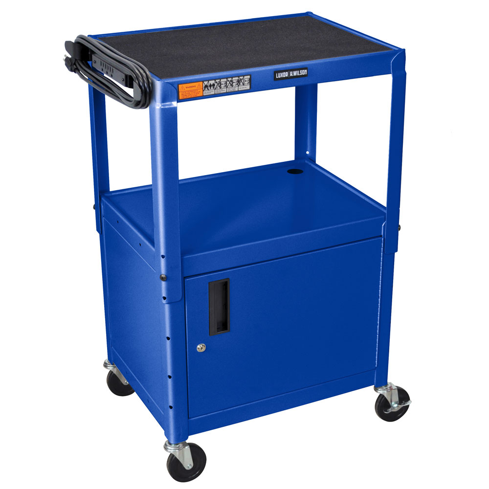 "Luxor Furniture AVJ42C-RB Utility Cart w/ Locking Cabinet, Adjusts to 42"", 24 x 18"", Royal Blue"