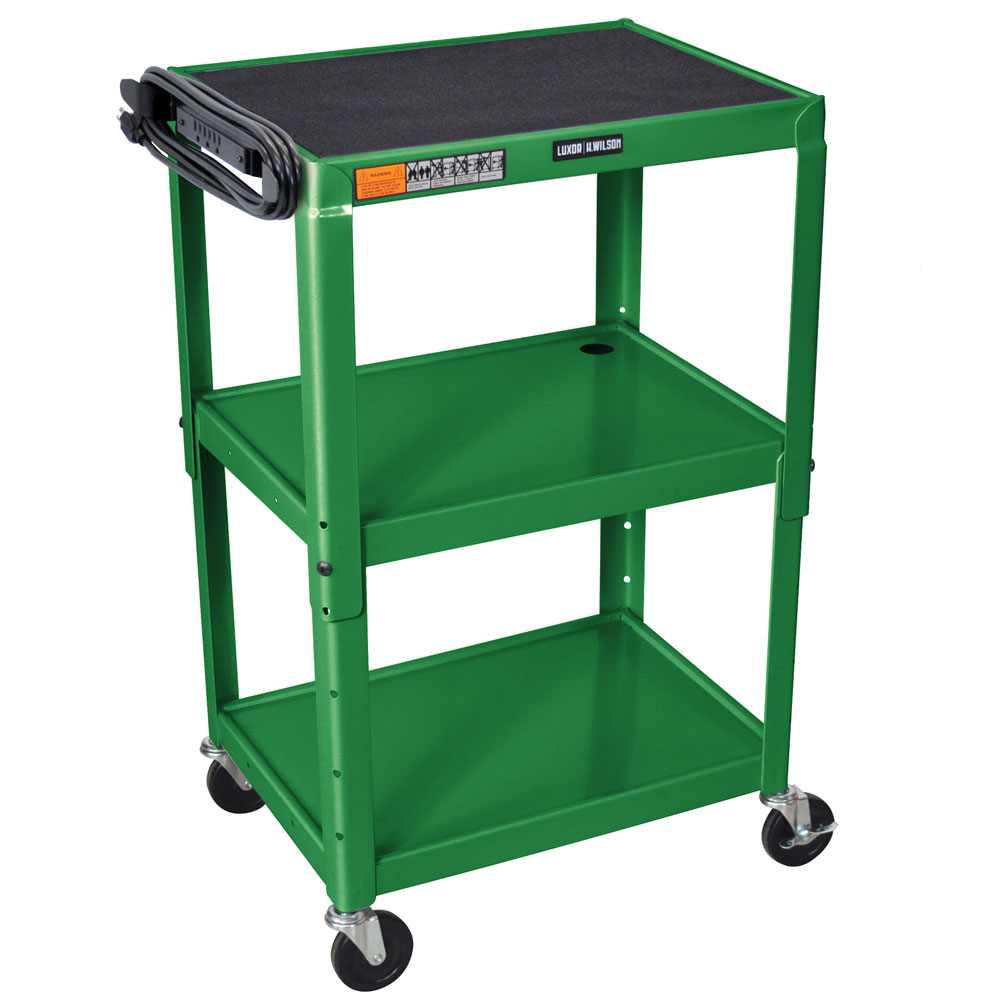 Luxor Furniture AVJ42-GN Utility Cart w/ Locking Brakes, Adjusts to 42-in, 24 x 18-in, Green