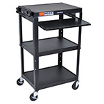 "Luxor Furniture AVJ42KB Utility Cart w/ Pull-Out Keyboard, Adjusts to 42"", 24 x 18"", Black"