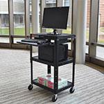 Luxor Furniture AVJ42KB 3-Level Computer Cart w/ 15-ft Cord