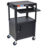 "Luxor Furniture AVJ42KBC Utility Cart w/ Pull-Out Keyboard & Cabinet, Adjusts to 42"", 24 x 18"", Black"