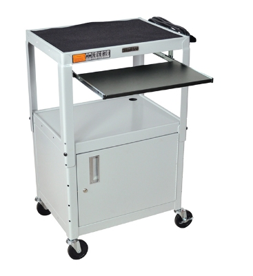 Luxor Furniture AVJ42KBC-LG Utility Cart w/ Keyboard & Cabinet, Adjusts to 42-in, 24 x 18-in, Light Gray