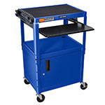 "Luxor Furniture AVJ42KBC-RB Utility Cart w/ Keyboard & Cabinet, Adjusts to 42"", 24 x 18"", Royal Blue"