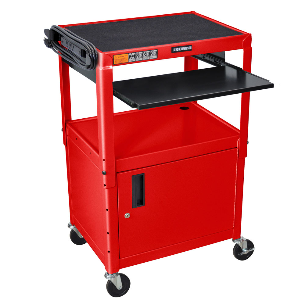 "Luxor Furniture AVJ42KBC-RD Utility Cart w/ Pull-Out Keyboard & Cabinet, Adjusts to 42"", 24 x 18"", Red"