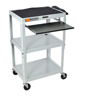 "Luxor Furniture AVJ42KB-LG Utility Cart w/ Pull-Out Keyboard, Adjusts to 42"", 24 x 18"", Light Gray"
