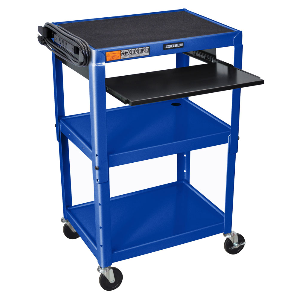 "Luxor Furniture AVJ42KB-RB Utility Cart w/ Pull-Out Keyboard, Adjusts to 42"", 24 x 18"", Royal Blue"